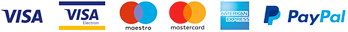 Visa Debit/Electron, Maestro, Mastercard, American Express and PayPal
